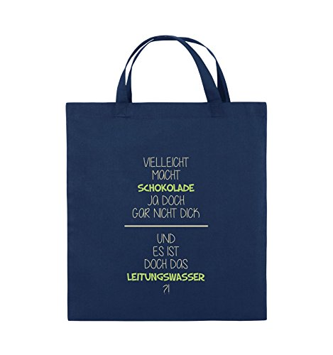 Comedy Bags - Vielleicht macht Schokolade ja doch gar nicht dick. - LEITUNGSWASSER - Jutebeutel - kurze Henkel - 38x42cm - Farbe: Schwarz / Weiss-Neongrün Navy / Beige-Hellgrün