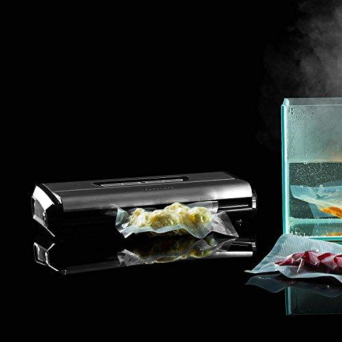 Klarstein FoodLocker Pro Vakuumierer • Vakuumiergerät • Folienschweißgerät • 120 Watt • 12 Liter/Minute • 3 mm Schweißnaht • Lebensmittel • Sous Vide • vollautomatisch • Touch Steuerung • inkl. 10x Vakuumbeutel • Folien bis 30 cm Breite • silber - 2