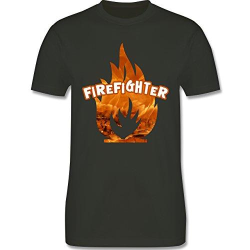 Feuerwehr - Feuer Flammen Firefighter - Herren Premium T-Shirt Army Grün
