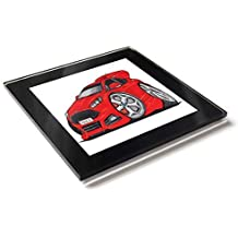 Koolart - Posavasos de cristal con caja de regalo para Ford Focus ST, rosso,