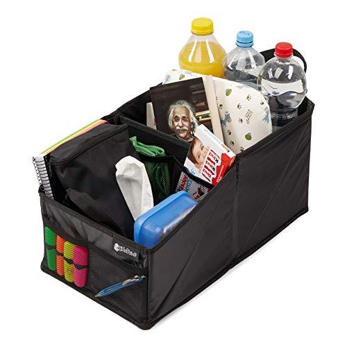 KidsPoint Kofferraum-Organizer und Autotasche für Spielzeug. Kofferraumtasche, Auto Aufbewahrungsbox und Rücksitztasche mit Getränkehalter