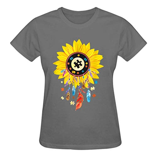 QUEETISOLA - Camiseta de algodón para Mujer, diseño de atrapasueños con Autismo, cómoda y Suave Gris Gris XXL
