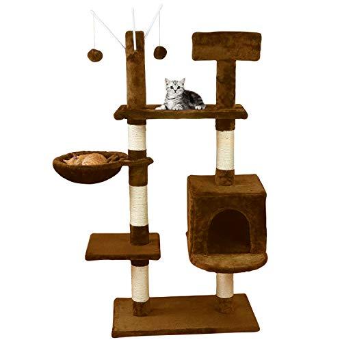 MC Star Árbol para Gato con Rascador de 131cm,Arañazo Juguete de Gatos de Sisal Natural,(Beige, Marrón)