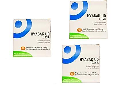3 x Hyabak Unidose 0.15% Sodium Hyaluronate Dry Eye Drops 120 x 0.4ml Preservative Free Value Bundle