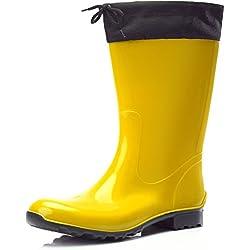 Ladeheid Botas Antideslizantes En PVC Para Mujer Color Amarillo/Negro Talla 41
