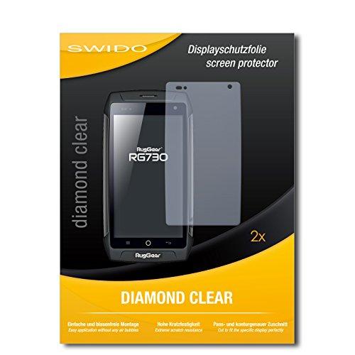 SWIDO 2 x Bildschirmschutzfolie Ruggear RG730 Schutzfolie Folie DiamondClear unsichtbar