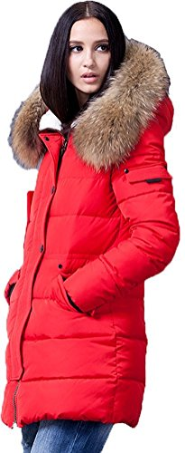 Sunrolan Damen Mantel Daunenmantel Steppmantel Wintermantel Daunenjacke lang mit Kapuze Echtes Fellkragen Rot