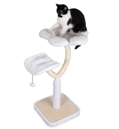 White Blossom Cat Tree Medium - Elegant with Two Platforms and Sisal-Covered Metal Posts - Offers your Cats A Place to… 1