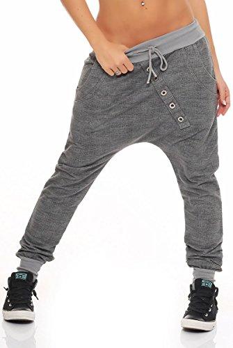 Malito Pantaloni Boyfriend en el 'Tejer' Design Baggy Aladin Bombacho Sudadera 7398 Mujer Talla Única (Gris)