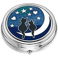 Pillendose–3-fach–Katzen auf Mond Design, emailliertes Zinn–5cm preisvergleich bei billige-tabletten.eu