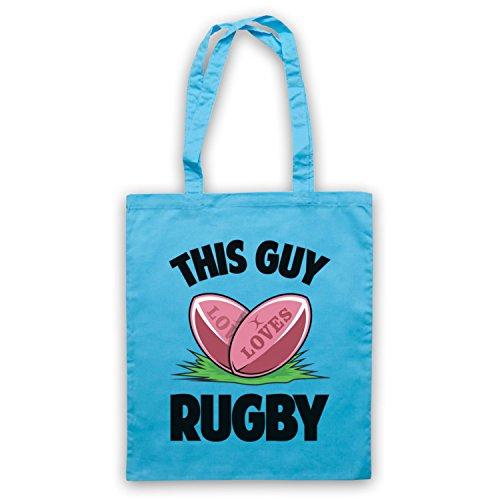 This Guy Loves Rugby Rugby Slogan Umhangetaschen Hellblau
