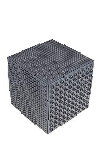 Strictly Briks - The Cube - 6 Bases de Doble Cara (Tacos Grandes y pequeños) interconectadas - Compatible con Todas Las Grandes Marcas - 16,51 x 16,51 x 16,51 cm - Gris