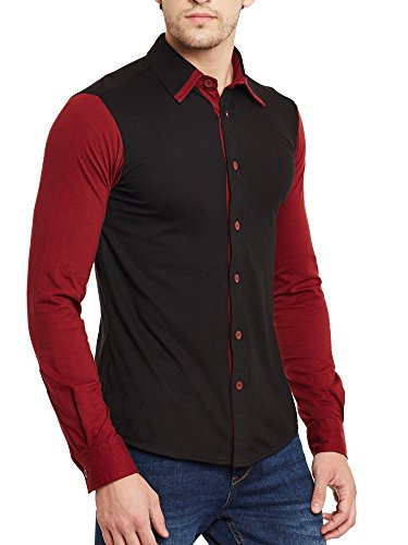 Gritstones Black-Maroon Full Sleeves Shirt GSFSSHRT1462