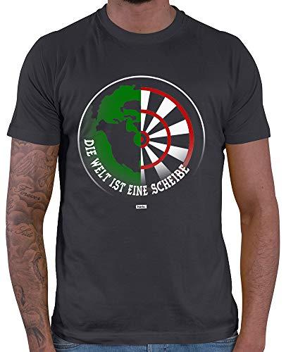 HARIZ Herren T-Shirt Die Welt Ist Eine Scheibe Dart Darten Dartscheibe WM Plus Geschenkkarte Dunkel Grau M