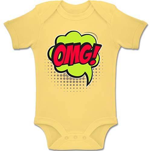 Kostüm Art Pop Mädchen Comic - Shirtracer Weihnachten Baby - Popart Karneval Kostüm OMG! - 6-12 Monate - Hellgelb - BZ10 - Baby Body Kurzarm Jungen Mädchen