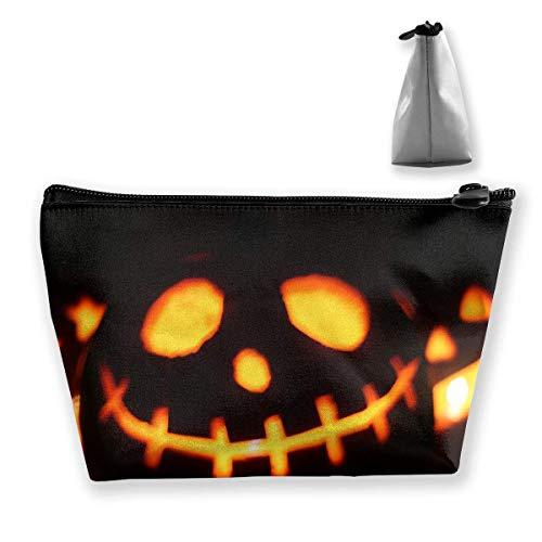 Halloween-Kürbis-Heller Hintergrund-trapezförmige Frauen-Kosmetik sackt Multifunktionswäsche-Aufbewahrungstasche EIN