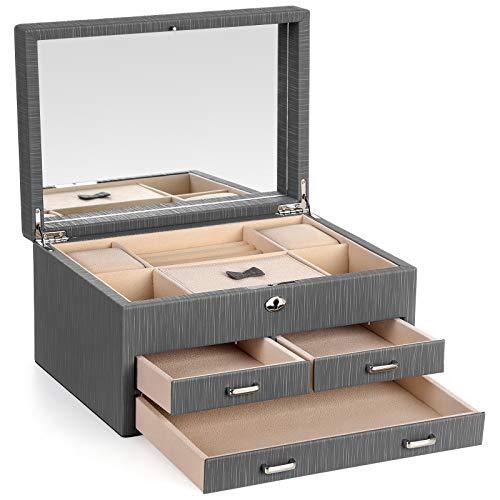 SONGMICS Schmuckkästchen, verschließbarer Schmuckkasten, Schmuck-Organizer, mit großer Innenspiegel, 3 Schubladen, robuster Rahmen, Geschenk für die Liebsten, Grau JBC230GY -