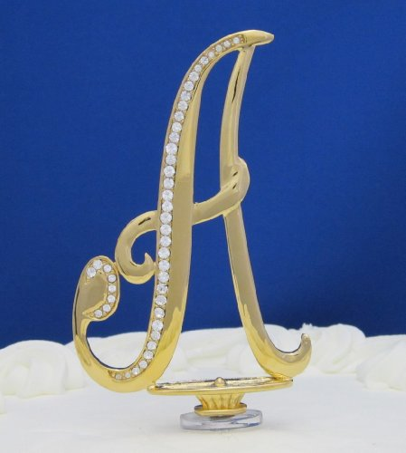 Swarovski Crystal Monogram Gold Letter Cake Topper A 4-1/2 inch By PLAZA LTD/ by Plaza