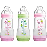 MAM Anti-Colic Self-Sterilising Newborn Bottles 260 Ml - 2 Pink/ 1 Green (3 Pack)