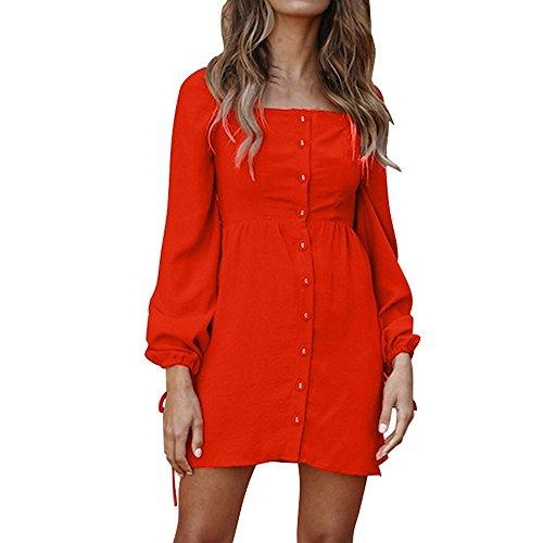 ESAILQ Damen Camisole Langarm Square Neck Minikleid Knopf Tasche Mode Kleid(L,Rot) Pleated Square Neck