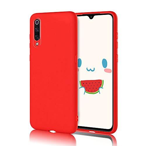 Funda para Xiaomi Mi 9 Carcasa Suave Silicona, E-Lush Caso Ultra Delgado Flexible Gel TPU Goma Funda para Xiaomi 9, Carcasa Anti-Arañazos Protector Case Cover para Xiaomi Mi 9, Rojo