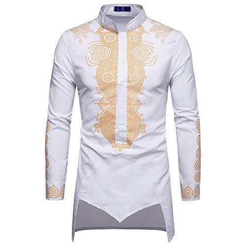 Yazidan Herren Herbst Winter Hemd Nationaler Stil Print Langarm Unregelmäßig Shirt Tops Bluse Slim-Fit – Bügelleicht – Für Anzug, Business, Hochzeit, Freizeit – Langarm-Hemd für Männer