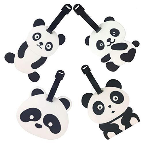 Etichette per bagaglio da viaggio, 8 pacchi emoji panda valigia etichetta identificativa per viaggio, portamonete, portamonete identificativo in pvc per bagaglio (panda 4pc)