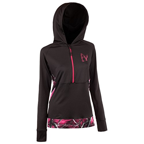 Huntworth Damen Active 1/4 Zip Hoodie, Damen, Hoodie/Active, Black/Passion -