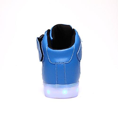 VILOCY Kinder USB aufladen LED Schuhe blinken Fashion high-top Sneakers für Jungen Mädchen Blau