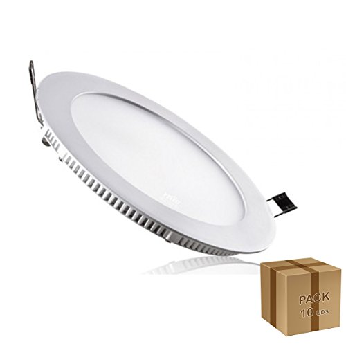 led-venta-pack-10-unidades-downlight-de-led-empotrable-extraplano-18w-redondo-aro-blanco-ac85-265v-b