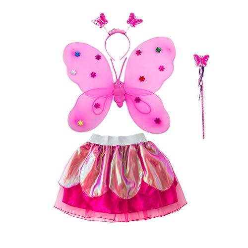 Tutu Feen Kostüm - Amosfun Schmetterlings-Kostüm, Tutu, Flügel, Stirnband, Feenstab für Mädchen (Rosenrot)