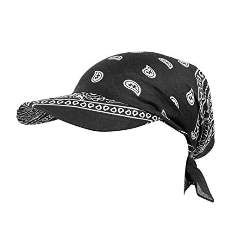 Winkey Sonnenhut, Damen, Retro-Stil, Baseball-Mütze, Turban-Handtuch aus Baumwolle, Schirm, Schwarz
