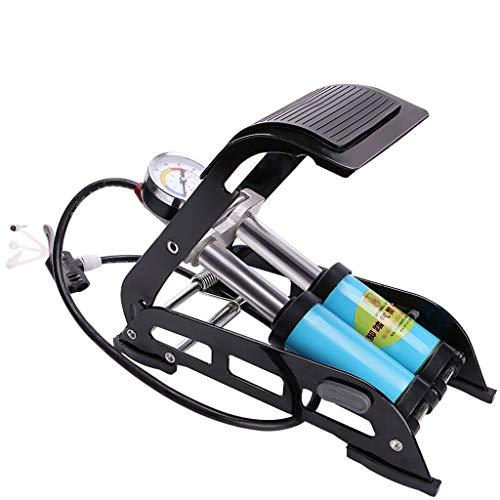 YEXIN Fahrradpumpe Doppelkolben Fahrradfußpumpen, Aluminiumlegierung Gehäuse mit genauem Manometer Smart Ventilkopf für Presta Schrader Deutschland Ventil, mit eingebauter Kugelnadel -