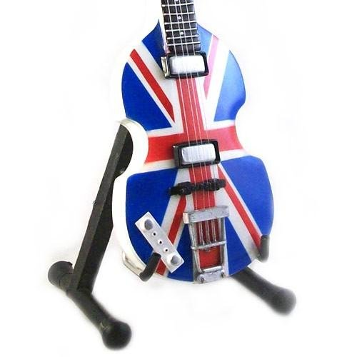 MINIATURA REPLICA GUITARRA DE MADERA PAUL MC CARTNETY THE BEATLES BAJO HOFNER