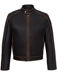 New 3124 Men's Washed Brown Biker Style Vintage Skiper Hide Real Leather Jacket