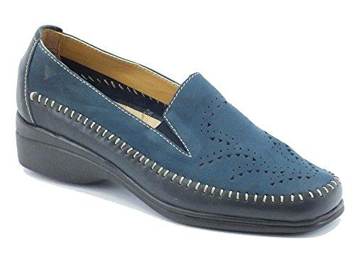 Mocassini Cinzia Soft in pelle e nabuk traforato bicolore blue Navy/Blue