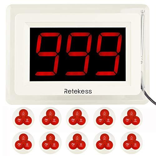 Retekess T114 Drahtloses Rufsystem bis zu 999 Kanäle 1 Empfänger mit 10 Piepser für Restaurant Cafeteria und Krankenhaus Privates Loge Zimmer Restaurant im Freien für Kunden Kellner zu Nennen Paging-adapter