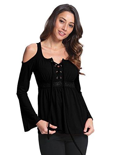 StyleDome Damen V-Ausschnitt Lose Langarm Strand T-Shirts Bluse Oberteil Tops Schwarz#