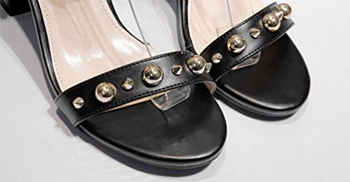 OL Sandalen Leater Knöchelriemen Chunky 5cm Ferse offene Zehenniet Decoratiom Casual Hochzeit Einkaufen Schuhe EU Größe 34-39 Black