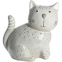 Moderne Skulptur Dekofigur Katze aus Porzellan stehend weiß//silber Höhe 21cm