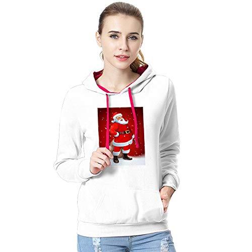 e62860ed ESAILQ Women Casual Santa Claus Print Long Sleeve Hoodie Pullover  Sweatshirt Blouse