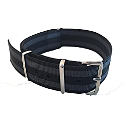 NATO G10 Nylon Watch Strap by Phoenix Straps James Bond Spectre Grey & Black Striped 22mm