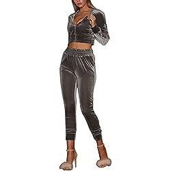 Minetom Femmes Velours Ensemble Survêtement Manche Longue Veste Blouson Sweat-Shirt à Capuche Jogging Pantalon Sports Suits 2pcs Gris FR 34
