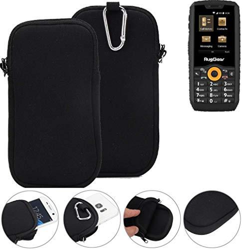K-S-Trade Neopren Hülle für Ruggear RG150 Schutzhülle Neoprenhülle Sleeve Handyhülle Schutz Hülle Handy Gürtel Tasche Case Handytasche schwarz