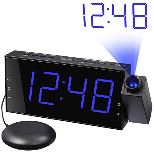 Vibrationswecker, Projektionsuhr mit Bett-Shaker, lautem Alarmton und vibrierender Projektor für schwere Schwellen, 7