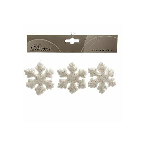 Izaneo - Lot de 3 flocons de neige noel blanc