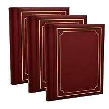 3 x Arpan Self Adhesive Large Photo Albums Totaling 60 Sheets 120 Sides - (Burgundy)
