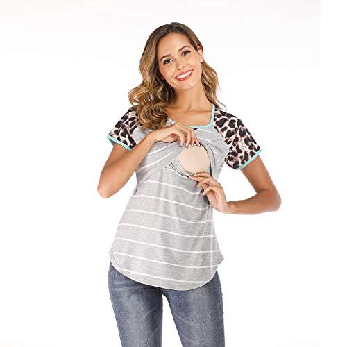 ommer Casual Button Gestreift Print Kurzarm Short elegant Basic große größe Baumwolle lang V-Ausschnitt Kleid Rot, Schwarz, Grau, Braun, Pink, Blau ()