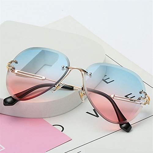 GJYANJING Sonnenbrille Randlose Sonnenbrille Frauen Modedesigner Sonnenbrille Metall Farme Farbverlauf Shades Schneiden Objektiv Famale GogglesUv400