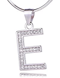 Morella Women's Necklace available with different Letter Pendants - 925 Sterling Silver rhodium plated pRuGc